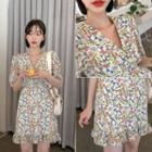 Frill-hem Flower Print Minidress