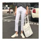 Asymmetric-hem Cotton Pants