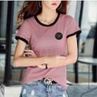 Pinstriped Shirt-sleeve T-shirt