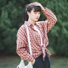 Long-sleeve Loose-fit Plaid Shirt