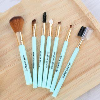 Set Of 7: Makeup Brush (various Designs) Cyan - One Size