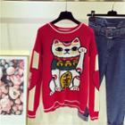 Cat Print Knit Sweater Red - One Size