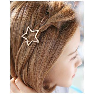 Faux-pearl Star Hair Barrette