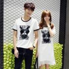 Couple Matching Printed Short Sleeve T-shirt / Short Sleeve Dress