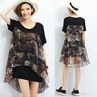 Mock Two Piece Printed Trim Short Sleeve T-shirt Dress