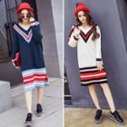 Long-sleeve V-neck Striped Knit Dress