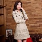 Double-breasted Lace Panel Coat