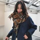 Plaid Fringed Scarf As Shown In Figure - One Size