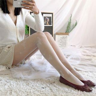 Floral Embroidered Sheer Tights