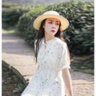 Short-sleeve Star Print Midi Chiffon Dress