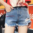 Lettering Ripped Fray Denim Shorts