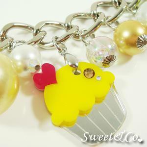 Yellow Cupcake Swarovski Crystal Charm Silver Bracelet