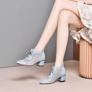 Block-heel Perforated Oxford Pumps