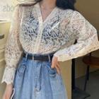 Long-sleeve Turtleneck Top / Lace Cardigan