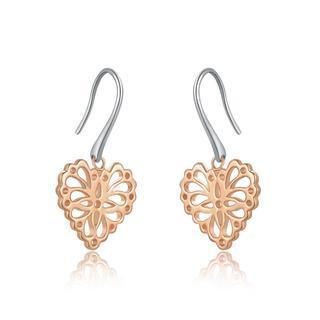 925 Silver Filigree Heart Dangle Earrings, Women Jewelry Gift