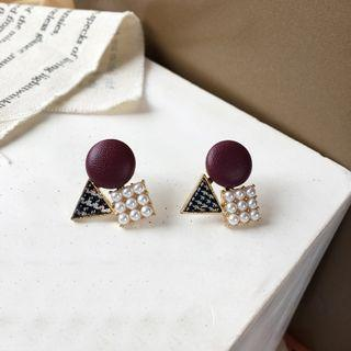 Houndstooth Triangle Faux Pearl Dangle Earring 1 Pair - Pearl - Earrings - One Size