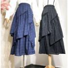 Maxi Plaid Layered Skirt
