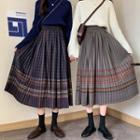 Plaid Pleated Woolen Skirt