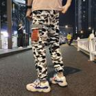 Cropped Camouflage Reflective Cargo Pants