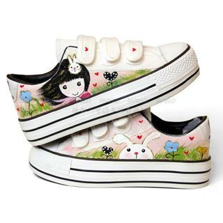 Painted Platform Canvas Sneakers
