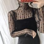Turtleneck Sheer Lace Top