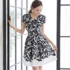 Cap-sleeve Patterned Dress