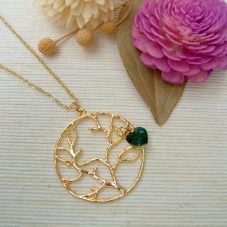 Golden Tree Circle Necklace Gold - One Size