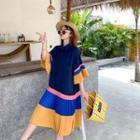 Short-sleeve Color-block Pleated Dress