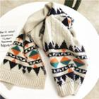 Pattern Knitted Scarf Beige - One Size