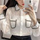 Color-block Lace Long-sleeve Blouse