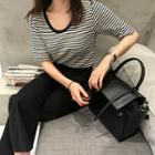 Round-neck Elbow-sleeve Striped Top