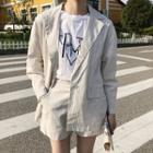 Set: Striped Buttoned Blazer + Shorts