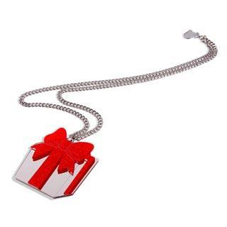 Xl Red Glitter Present Long Necklace