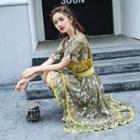 Lace Trim Floral Chiffon Dress