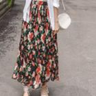 Plus Size Pleated Floral Long Chiffon Skirt