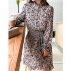 Smocked-waist Floral Print Dress Pink - One Size