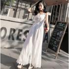 Lace Trim Spaghetti Strap Maxi A-line Dress / Wide-leg Jumper Pants