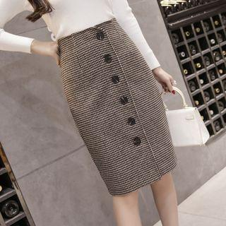 Houndstooth Fitted Skirt