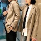 Couple Matching Double Breasted Plaid Blazer