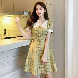 Doll Collar Plaid Short-sleeved Dress