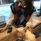 Argyle Knit Vest As Shown In Figure - One Size