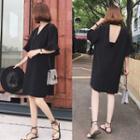 Short-sleeve V-neck Plain A-line Dress