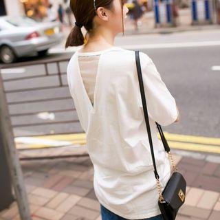 Organza Loose-fit Cutout Short-sleeve Top