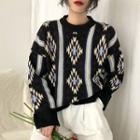 Pattern Crewneck Sweater As Shown In Figure - One Size
