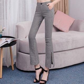 Checked Cropped Boot-cut Pants