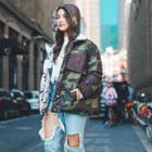Reversible Hooded Print Zip Coat