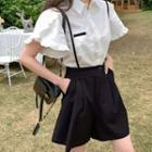 Ruffle Trim Short-sleeve Blouse / Wide-leg Jumper Shorts / Set