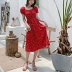 Dotted Short-sleeve Chiffon Dress / Strappy Dress