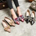 Genuine Leather Bow Accent Low-heel Flats