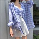Set: Gingham Shirt + Gingham Camisole Top